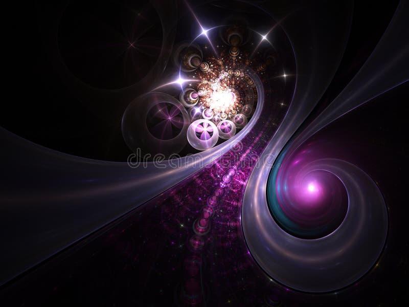 Galaxias sin fin brillantes en espacio exterior stock de ilustración