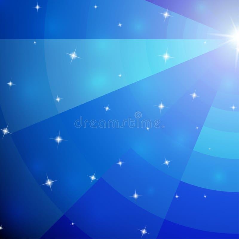 Galaxie bleue abstraite de mosaïque avec la perspective illustration libre de droits