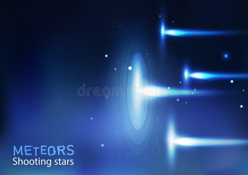 Galaxie d'astronomie d'étoiles filantes de météores et espace, lumineux léger illustration de vecteur