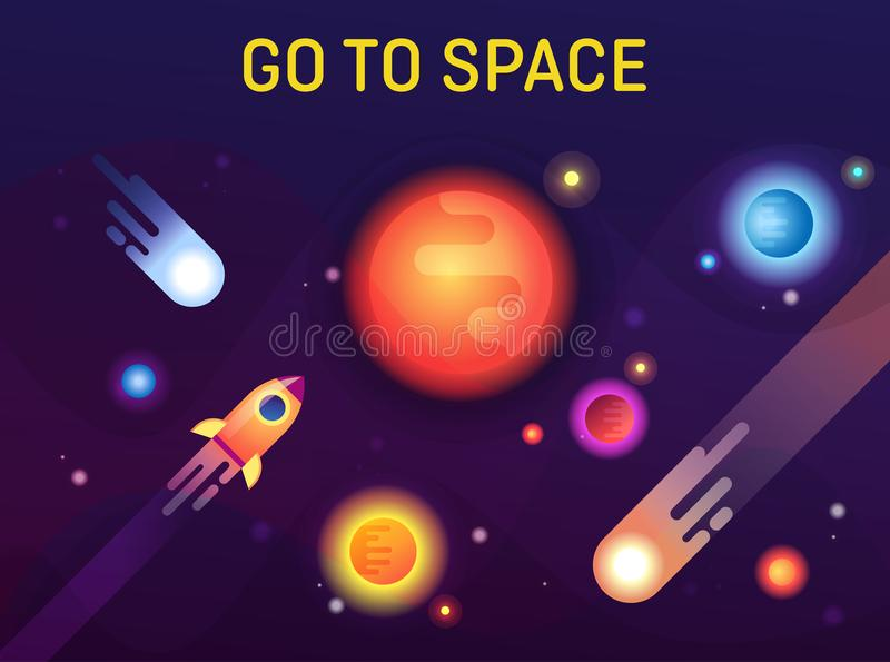 Galaxie oder Kosmos, Raum mit Sternen und Sonne vektor abbildung