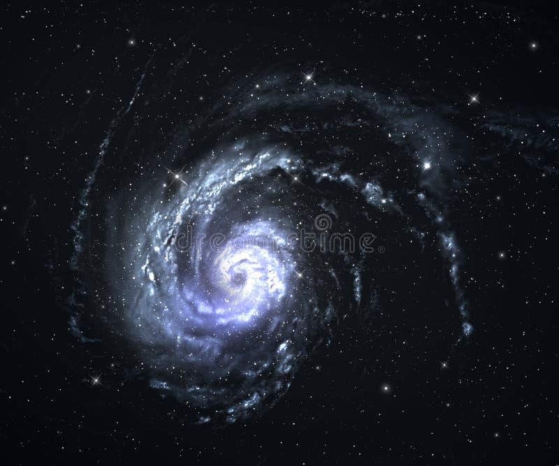 Galaxie spiralée avec le fond de starfield. illustration de vecteur