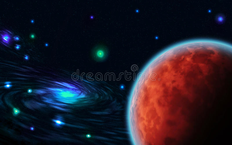 Galaxies. Planets, stars in the open space for your design stock illustration