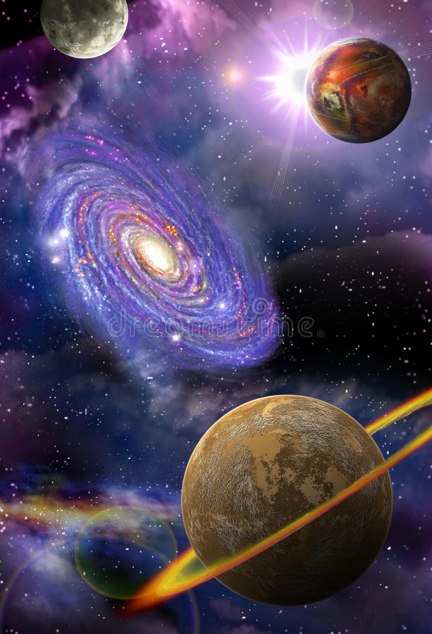 Galaxies and planets in space. Distant galaxies and planets flying in outer space royalty free illustration
