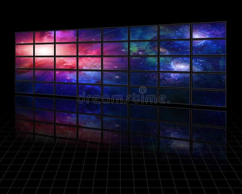 Galaxies and stars on screens. In dark space. Some elements image credit NASA stock illustration