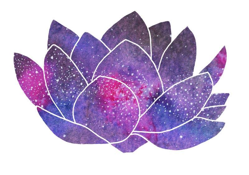 Galaxlotusblomma Hand-dragen kosmisk blomma royaltyfri foto