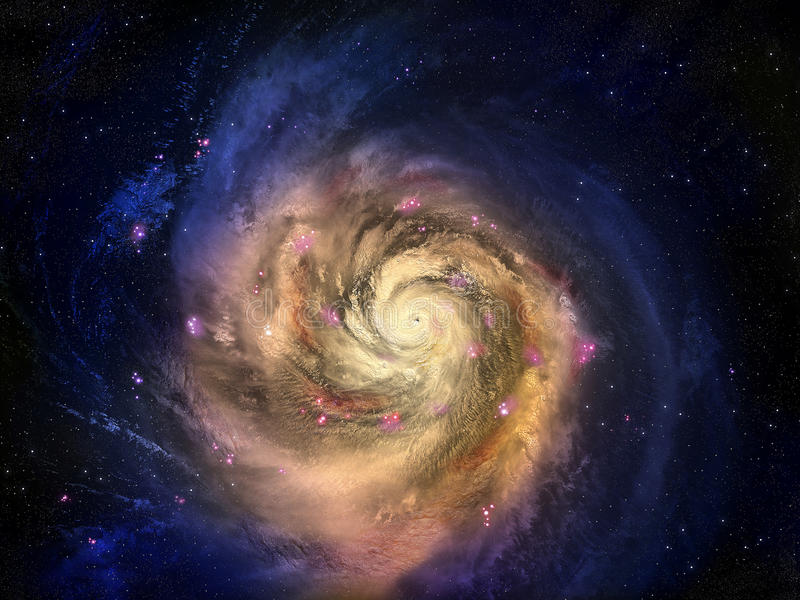 Galaxy. On background of deep blue cosmos royalty free illustration