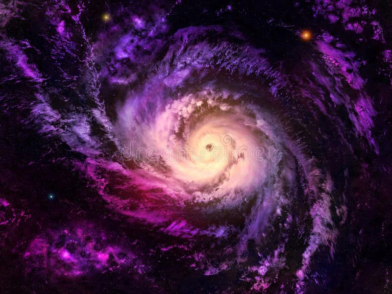 Galaxy. The starry sky with a spiral galaxy stock illustration