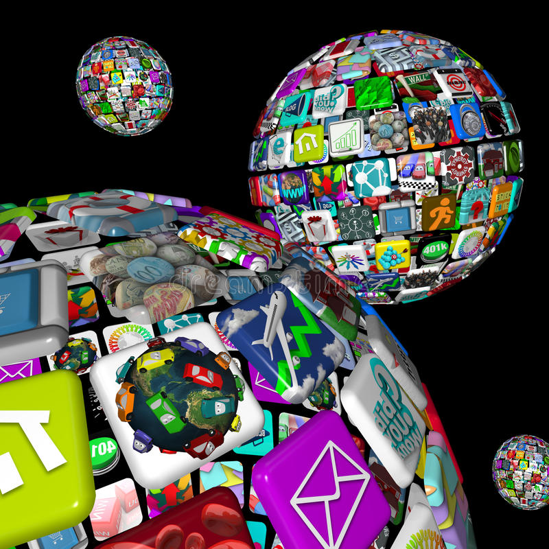 Galaxy of Apps - Several Spheres stock illustration