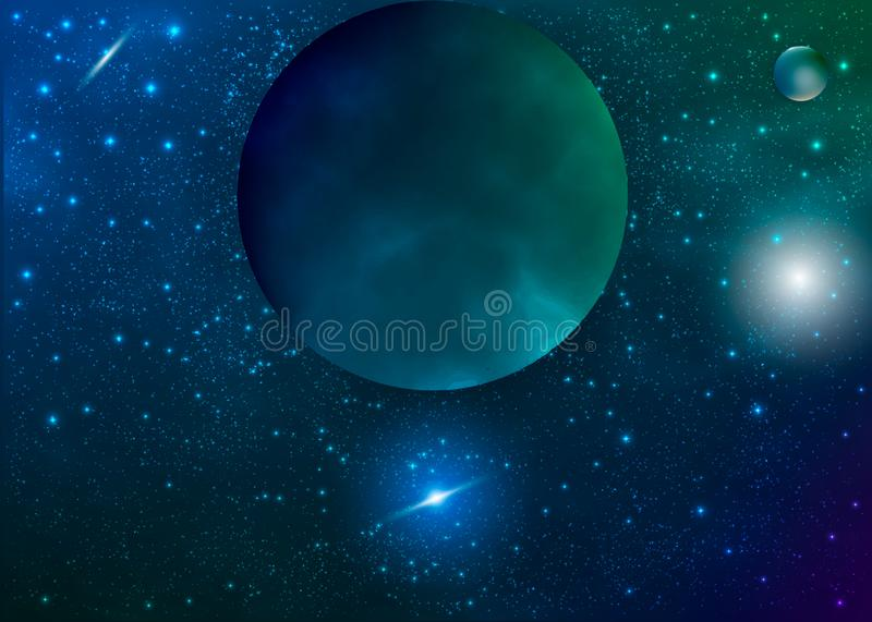Galaxy background with nebula, planet and star cluster vector illustration