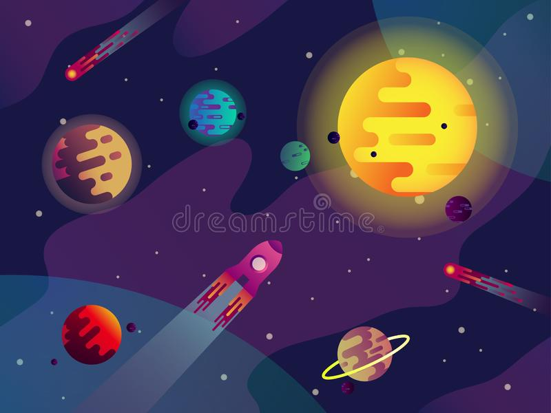 Galaxy or cosmos, sun, planets, spaceship, comets. Sun with planets and comets. Cartoon cosmos or galaxy panorama with stars and rocket, spacecraft or spaceship stock illustration