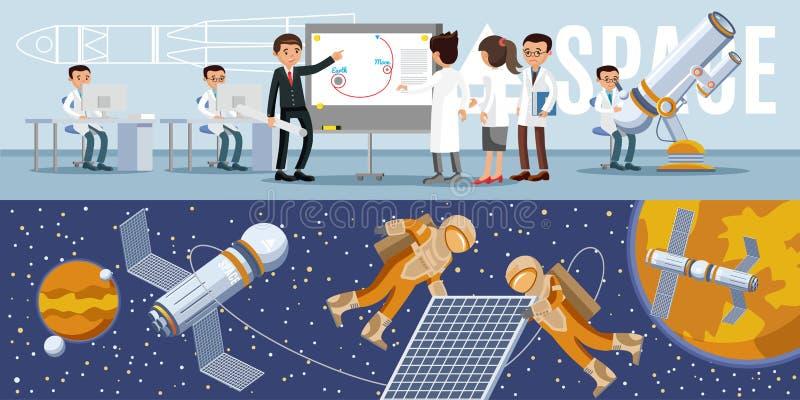 Galaxy Exploration Horizontal Banners vector illustration