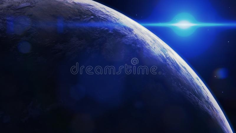 Scifi earth inspired planet, fantasy royalty free stock photography