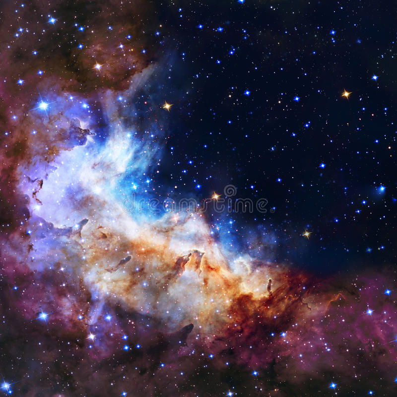 Galaxy illustration, space background with stars, nebula, cosmos clouds. On starry sky royalty free illustration