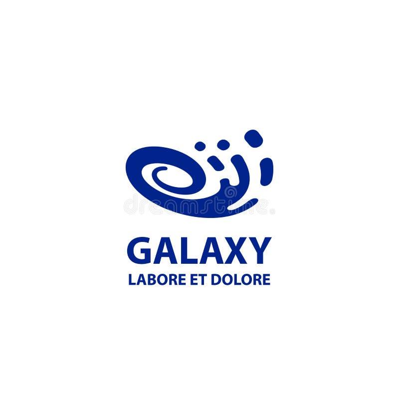Galaxy logo template. Flat blue abstract spiral symbol. stock illustration