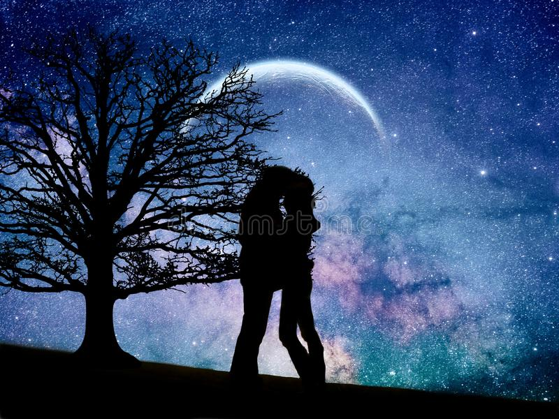 Galaxy love. Photomanipulation of a couple in love under the moon and into the galaxy vector illustration