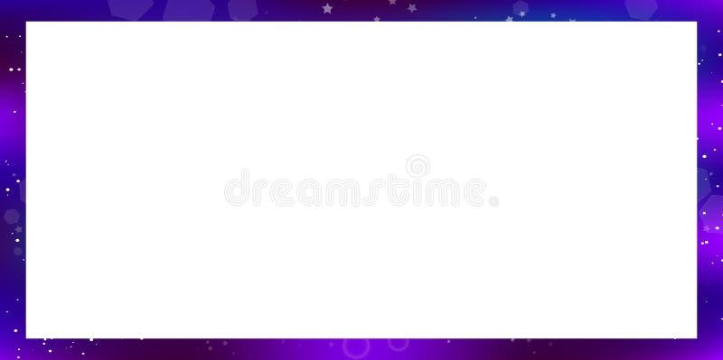 Galaxy rectangle border on white background with copy space. Fantastic galaxy rectangle border isolated on white background with copy space. Purple neon magic vector illustration