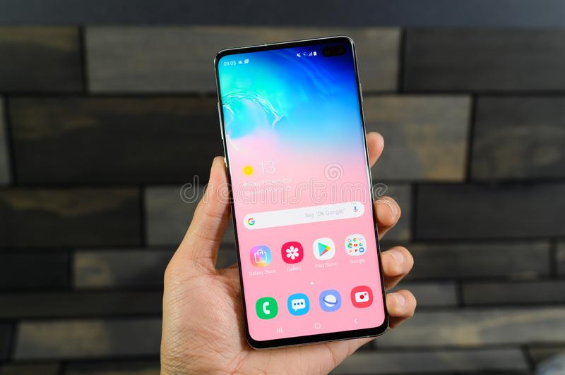 The Galaxy S10 is a fitting 10th anniversary phone for Samsung and its storied S series royalty free stock image