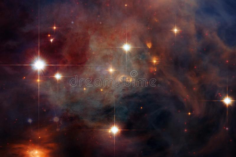 Galaxy, starfield, nebulae, cluster of stars in deep space. Science fiction art stock photography