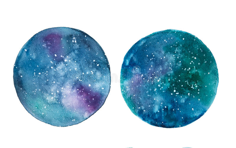 Galaxy watercolor circles. Isolated on a white background vector illustration