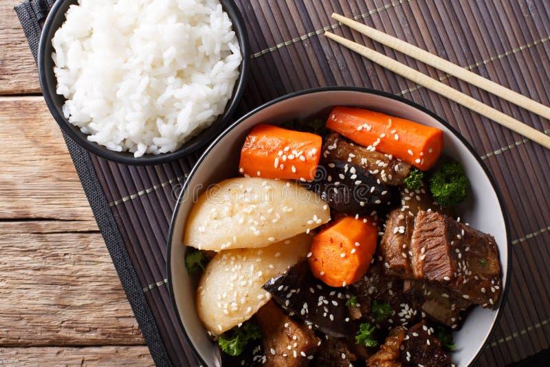 Galbi jjim of Kalbi Jim - Koreaanse Gesmoorde Rundvlees Korte Ribben met ri stock afbeelding