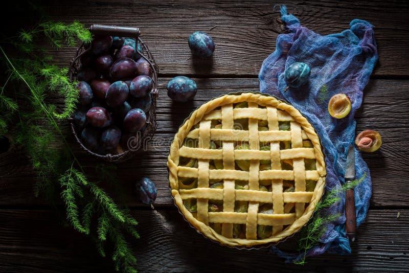 Galdéria caseiro e deliciosa com as ameixas feitas de ingredientes frescos fotografia de stock