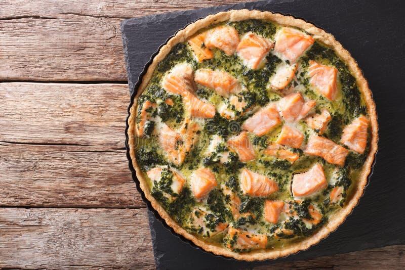 Galdéria saboroso saboroso com salmões e espinafres no prato para cozer imagens de stock