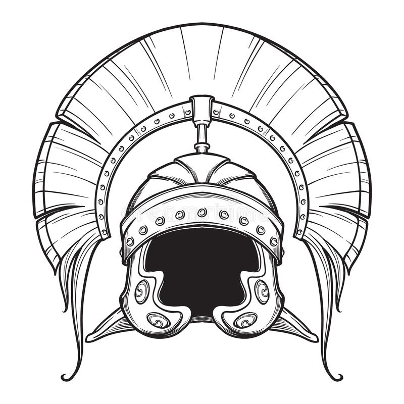 Galea Римский имперский шлем при гребень tipically несенный центурионом Вид спереди Элемент геральдики Почерните белизну nd иллюстрация вектора