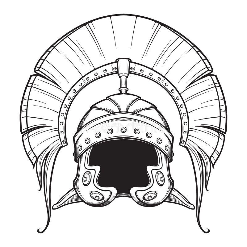 Galea Casque de Roman Imperial avec la crête tipically portée par le centurion Front View Élément héraldique Noircissez un blanc  illustration de vecteur