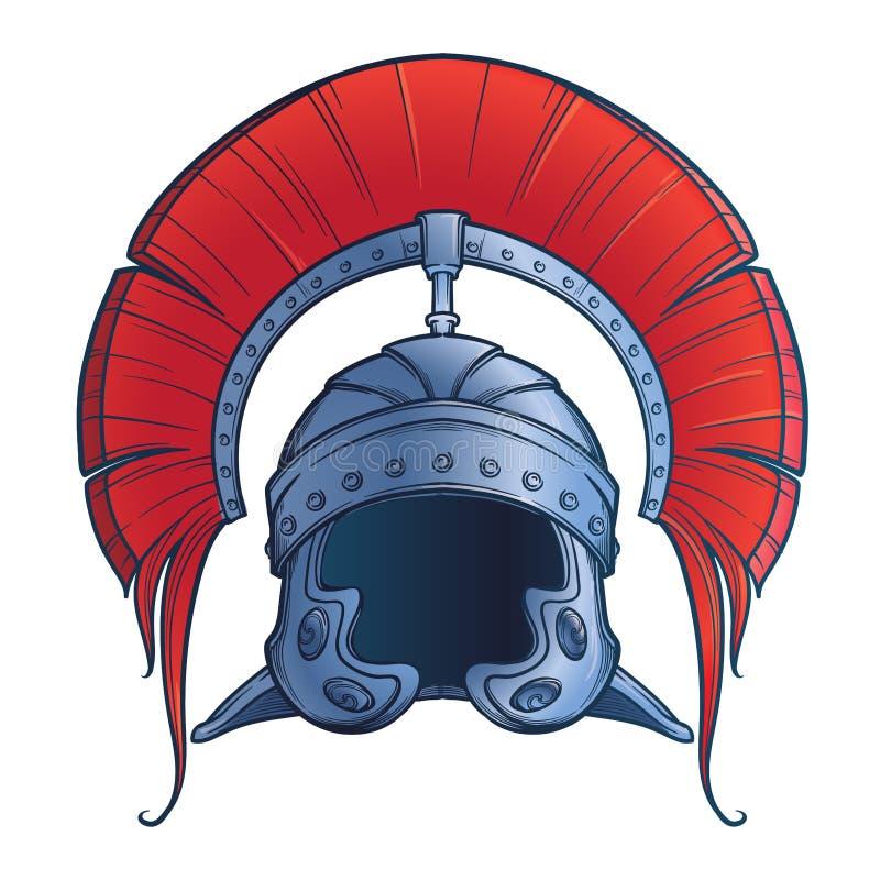Galea Roman Imperial-Sturzhelm mit dem Kamm tipically getragen vom Befehlshaber Front View vektor abbildung