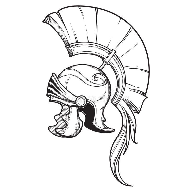 Galea Roman Imperial-Sturzhelm mit dem Kamm tipically getragen vom Befehlshaber Weicher Fokus Wappenkundeelement Schwärzen Sie ei stock abbildung