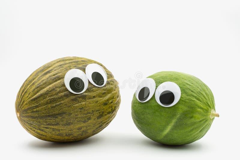 Galen brunt- och gräsplanmelon med googly ögon på vit bakgrund royaltyfri foto