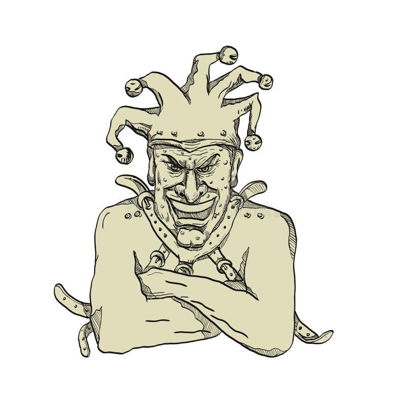 Galen domstol Jester Straitjacket Drawing royaltyfri illustrationer