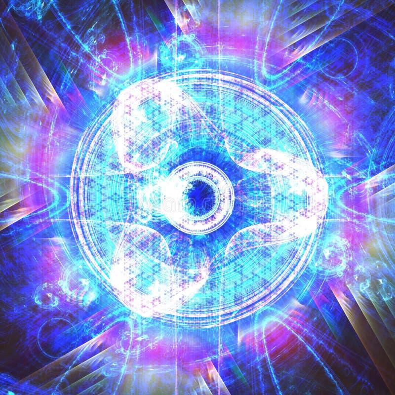 Galen energiexplosion för sakral geometri   Fractal Art Background Wallpaper royaltyfri illustrationer