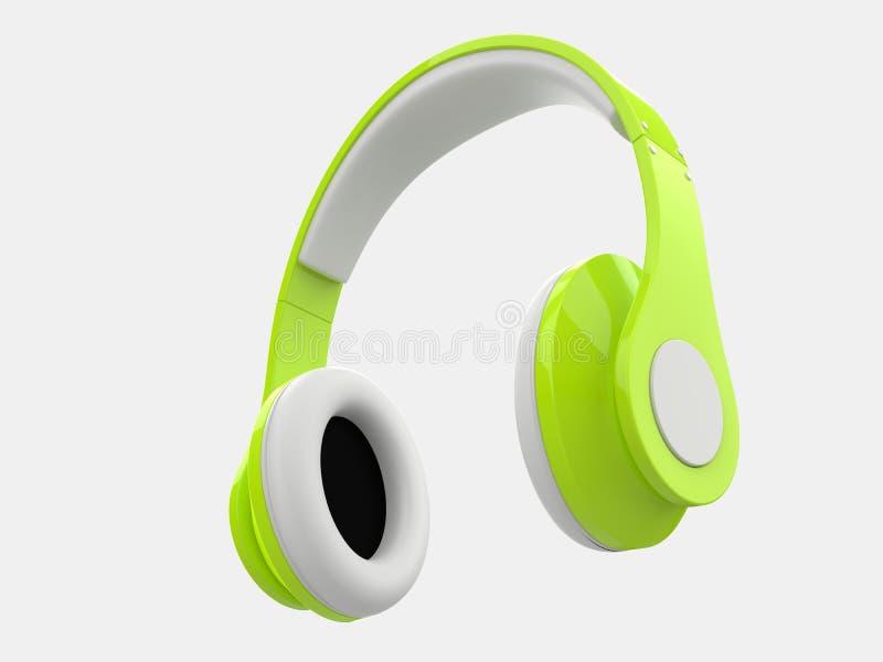 Galen grön modern trådlös hörlurar stock illustrationer