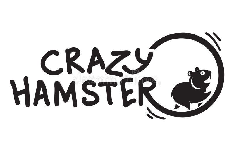 Galen hamster som runnning rolig logo stock illustrationer