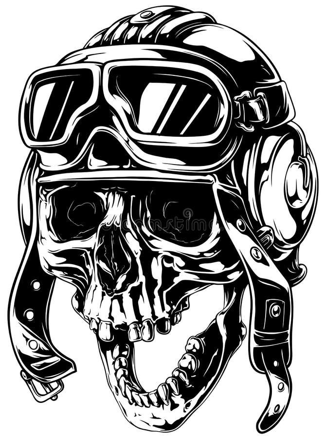Galen le gammal mänsklig skalle i flygarehjälm stock illustrationer