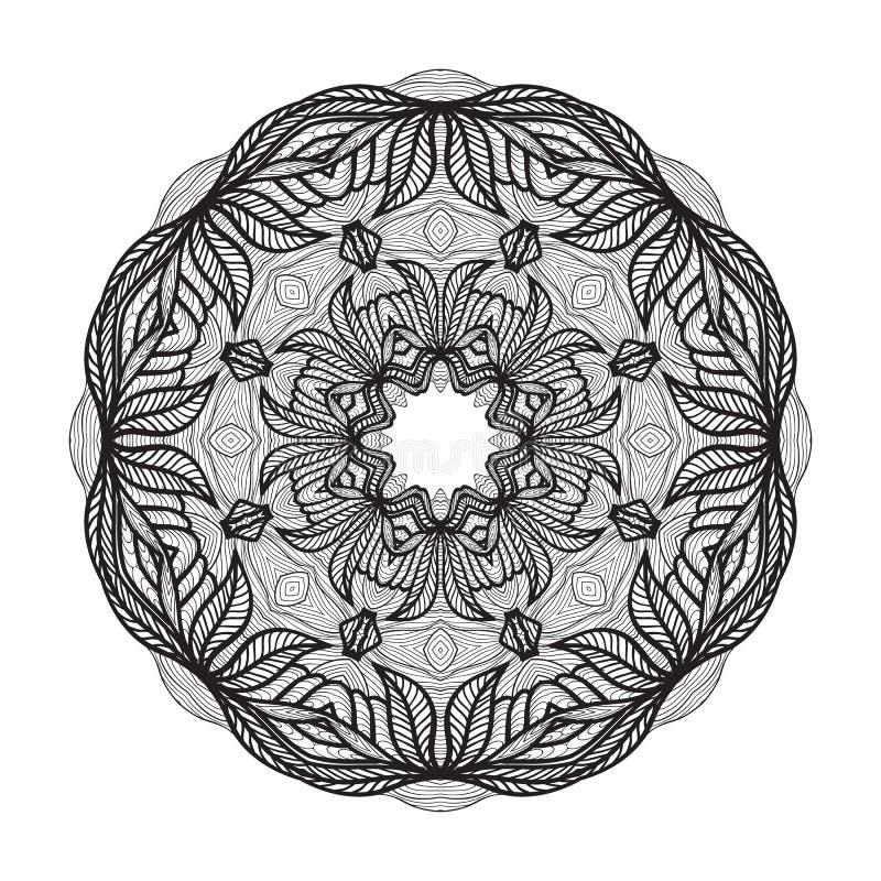 Galen mandalamall för färgläggningboken, zendoodle Rund zentangle Den runda prydnaden snör åt modellen för din design royaltyfri illustrationer