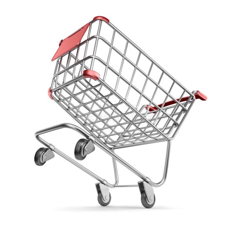 Galen marknadsvagn 3D.  Shoppingbegrepp. Isolerat vektor illustrationer
