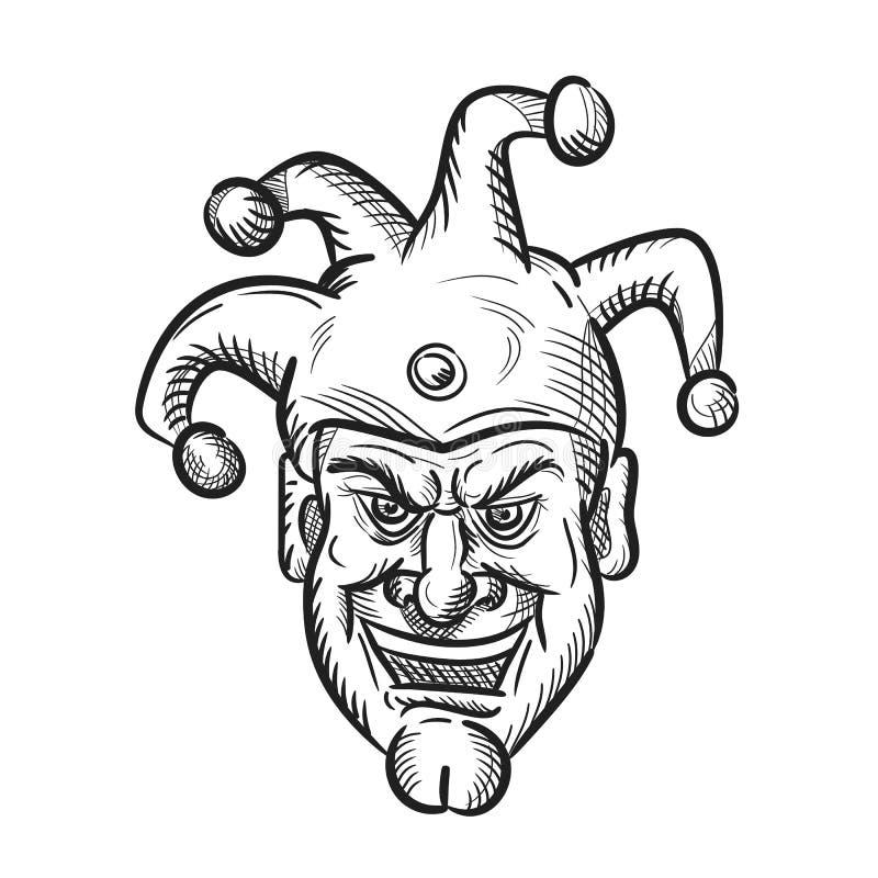 Galen medeltida domstol Jester Drawing stock illustrationer