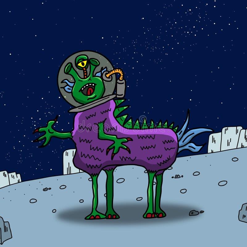 Galen purpurfärgad häst som konstigt utrymmefrämling eller monster på en blå planet, asteroid eller måne Kulör illustration för o royaltyfri illustrationer