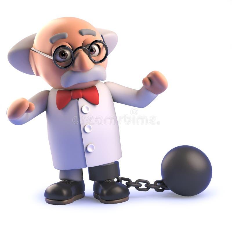Galen tokig forskare i 3d som bär en boll och en kedja vektor illustrationer