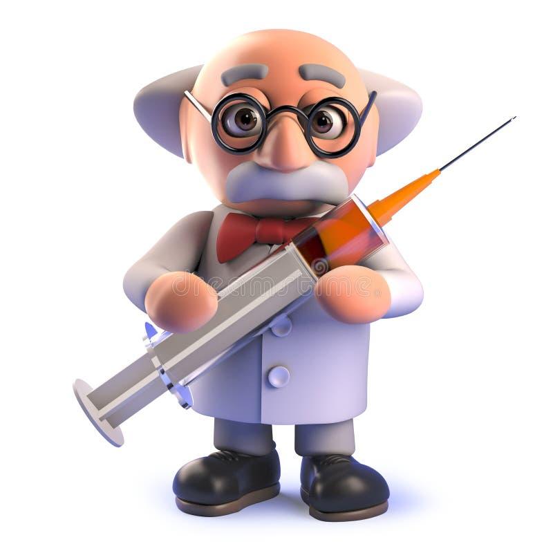 Galen tokig forskare i 3d som mycket rymmer en injektionsspruta av droger royaltyfri illustrationer