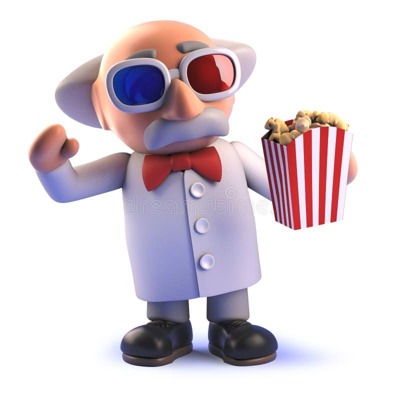 Galen tokig forskare som håller ögonen på en film med exponeringsglas 3d och popcorn i 3d stock illustrationer