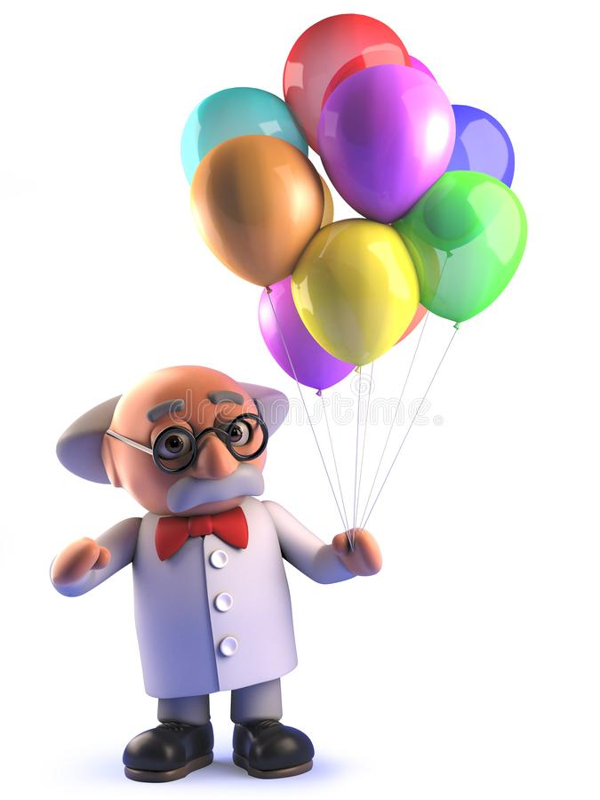 Galen tokig forskareprofessor i 3d som rymmer n?gra f?rgrika ballonger royaltyfri illustrationer