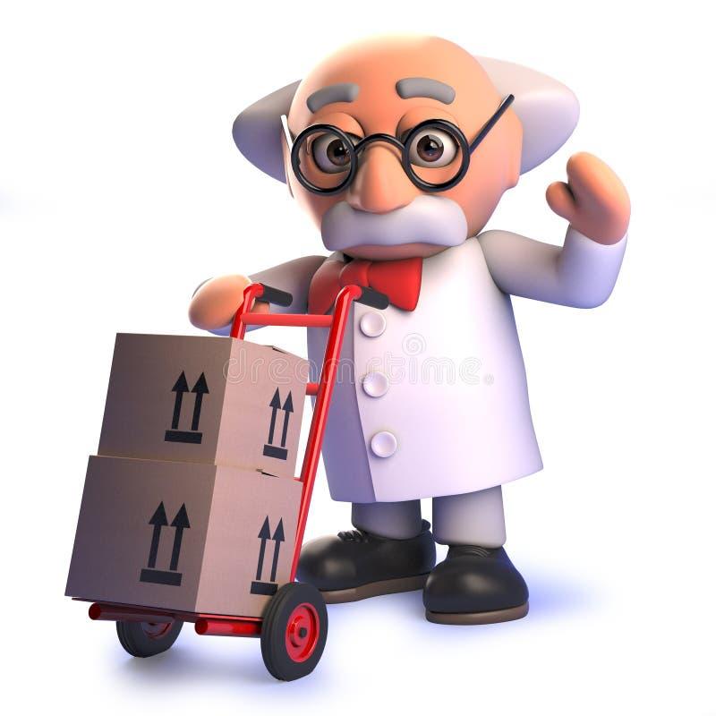 Galen tokig forskareprofessor som levererar jordlotter med handvagnen i 3d royaltyfri illustrationer