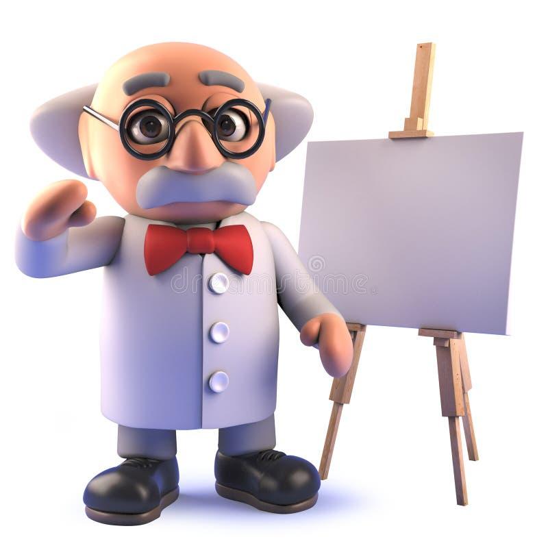 galen tokig professor för scienist som 3d framme står av en tom staffli vektor illustrationer