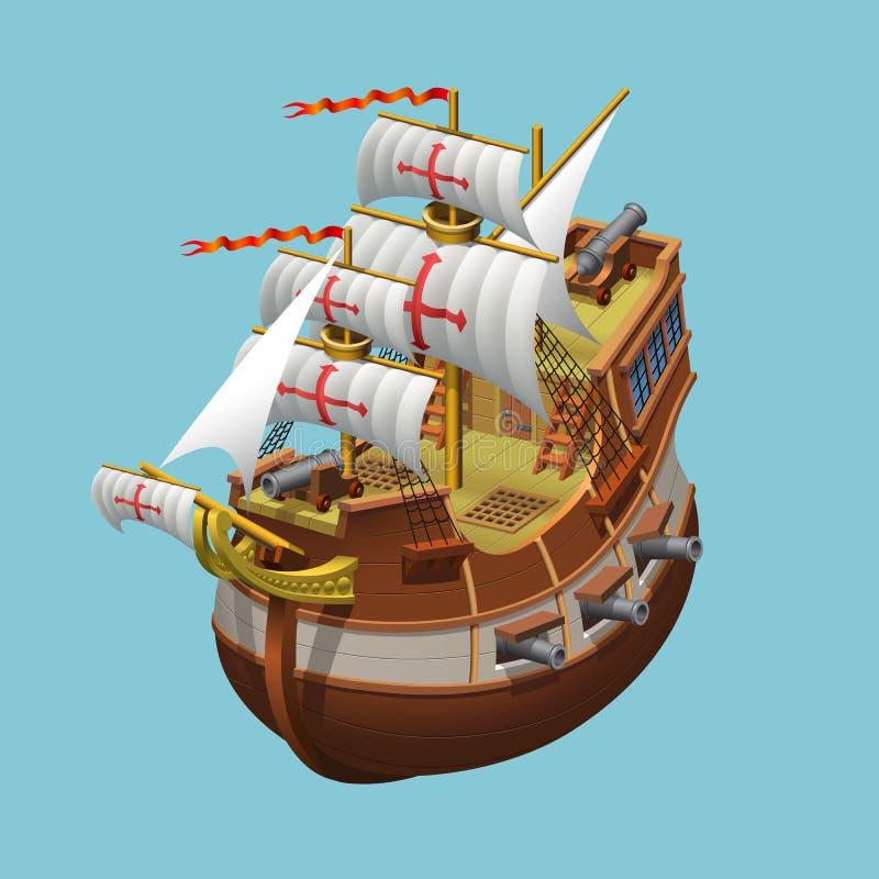 Galeon żegluje starego statku aksonometryczną wektorową ilustrację obrazy stock