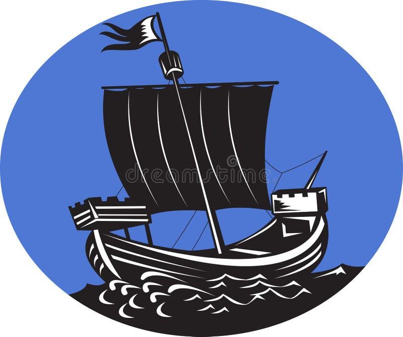 galeonu żeglowania denny statek wysoki ilustracja wektor