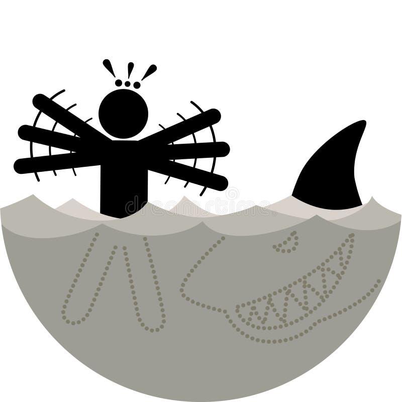 Galeophobia o Selachophobia Ichthyophobia Miedo de tiburones o de pescados El nadador vio el tiburón y comenzó a aterrarse stock de ilustración