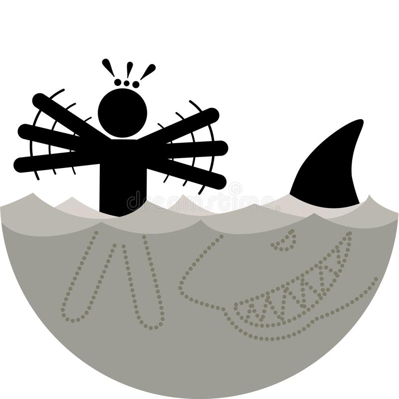 Galeophobia or Selachophobia Ichthyophobia. Fear of Sharks or fish. Swimmer saw the shark and started to panic. stock illustration
